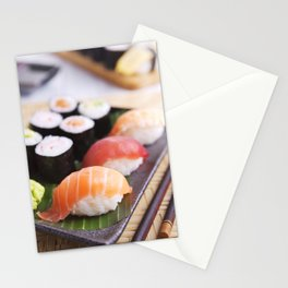 Various Japanese sushi on a plate, shallow depth of field Stationery Cards