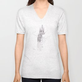 Santa Ana El Salvador Ink Drawing Unisex V-Neck