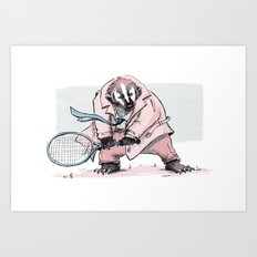 Tennis Badger Art Print