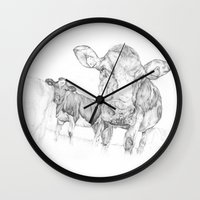 cows Wall Clocks featuring Cows by George Terry