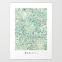 Mexico City Map Blue Vintage Art Print