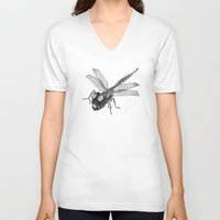 dragonfly V-neck T-shirts featuring Dragonfly by Vilnis Klints