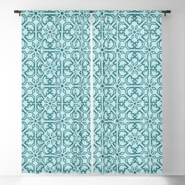 Vintage Mediterranean tiles pattern cobalt blue Blackout Curtain