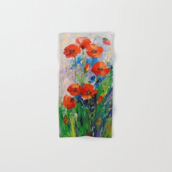 Poppies in a field Hand & Bath Towel