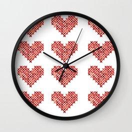 Cross Stitched Hearts Wall Clock