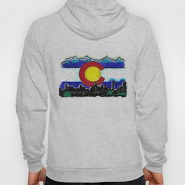 Denver Colorado artistic skyline art Hoody