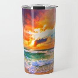 Orange Sunset Landscape Red Purple Green Sea Waves Art Travel Mug