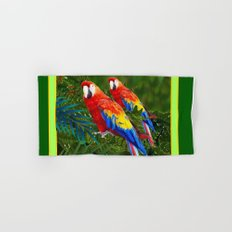 GREEN JUNGLE 2 RED MACAW PARROTS Hand & Bath Towel