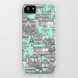 Paris toile aquamarine iPhone Case