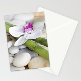 white Orchid flower  and green Bamboo still life Stationery Cards