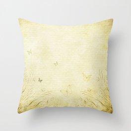 Antique Butterfly Garden Throw Pillow