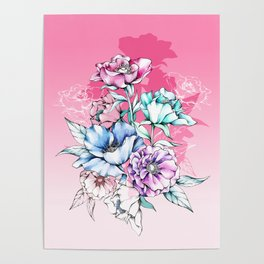 Poppy Bouquet- Pink Poster