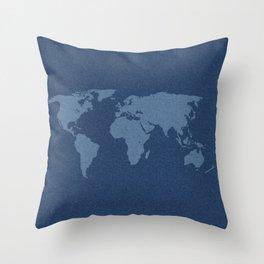 Denim Map Throw Pillow