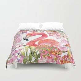Flamingo in Tropical Flower Jungle Duvet Cover