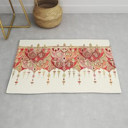Royal Red Art Deco Double Drop Rug
