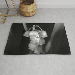 Black and white lily of the valley Rug