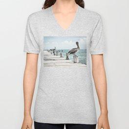 Seabirds on a Pier Unisex V-Neck