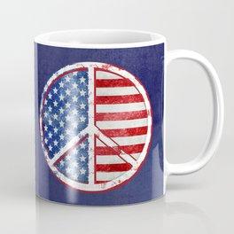 Watercolor Patriot Peace Symbol Stars and Stripes USA Flag Coffee Mug