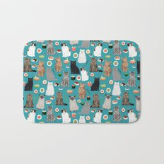 Cat Sushi pattern by pet friendly cute cat gifts for pet lovers foodies kitchen Bath Mat