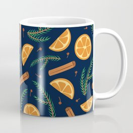 Cozy holiday winter pattern with orange and pine tree branches Coffee Mug