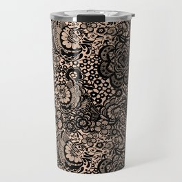 Bronze nude with black lace Travel Mug