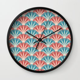 Colorful Abstract Peacock Feather Pattern Wall Clock