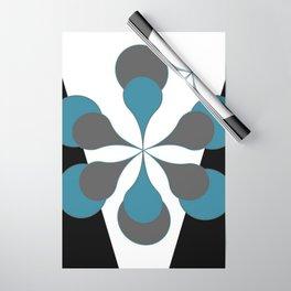 Mid-Century Modern Art 1.4B Grey Aqua Flower Wrapping Paper