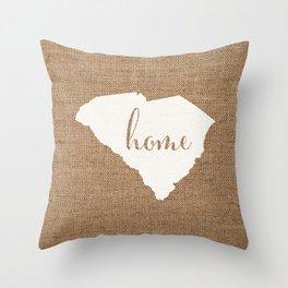 South Carolina is Home - White on Burlap Throw Pillow