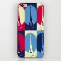 eiffel tower iPhone & iPod Skins featuring Eiffel Tower by Aloke Design