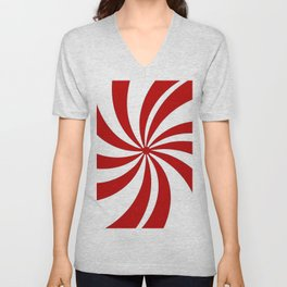 festive winter holiday candy land red and white lollipop candy swirls Unisex V-Neck
