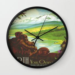 Earth Retro Space Poster Wall Clock