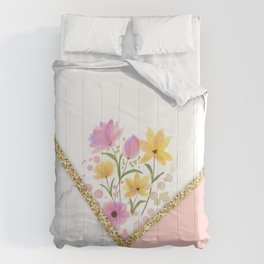 MINIMAL PEACH GOLD FLORAL MARBLE Comforters