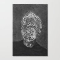 no face Canvas Prints featuring Face by hannoia