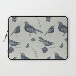 Birds and Daisies, drawing in blue and grey Laptop Sleeve