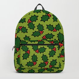 Holly Leaves and Berries Pattern in Light Green Backpack