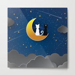 CAT STARRY NIGHT Metal Print