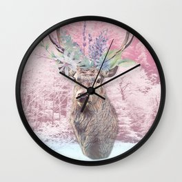 Floral Stag Wall Clock