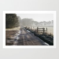 Remote frozen country road a t sunrise. Norfolk, UK. Art Print