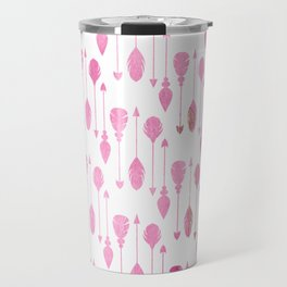 Pastel pink watercolor modern feathers arrows pattern Travel Mug