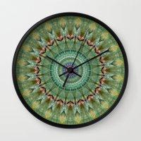 malachite Wall Clocks featuring Mandala green malachite by Christine baessler