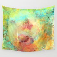 guardians Wall Tapestries featuring The Guardians Abstract by Jessielee