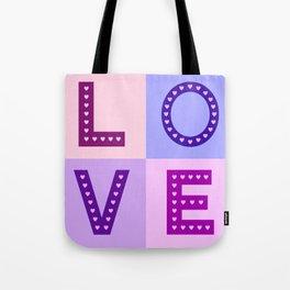 Love Hearts Love Type Pinks Purples Tote Bag