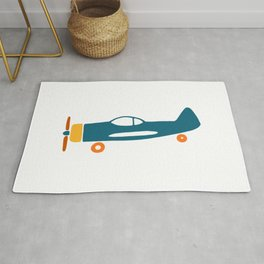 Retro plane illustration Rug