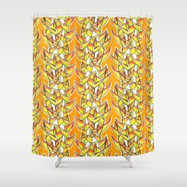 Heliconia Rostrata / Lobster Claw, yellow, orange  & white, Shower Curtain