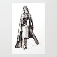 jedi Art Prints featuring Grey Jedi by Margret Stewart