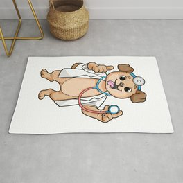 Dog as Doctor with Stethoscope Rug