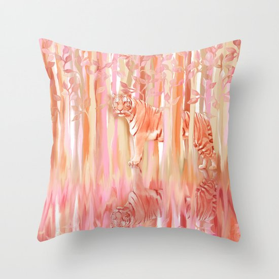 Tiger in the Trees - Painting / Collage Throw Pillow