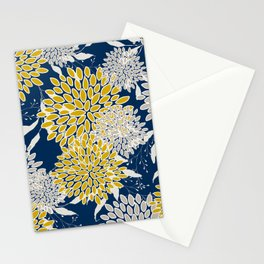 Floral Leaves and Blooms, Navy Blue, Yellow, Beige Stationery Cards