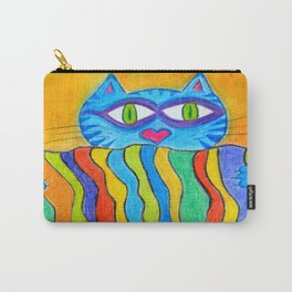 Cat holds a rainbow blanket Carry-All Pouch