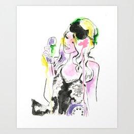 Lady Cat Mask Art Print